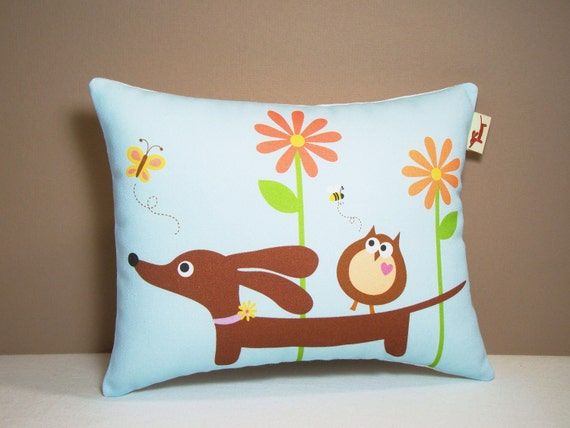 Dachshund Pillow - Doxie and Owl in the Blue Sky Daisy Garden - Dog Whimsical Home Decor