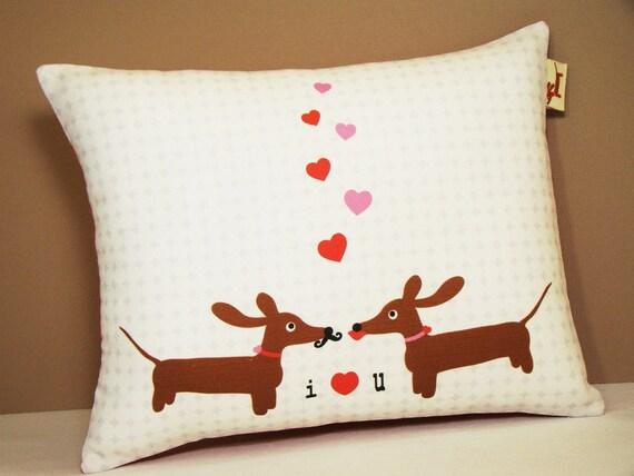 Wiener Dog Dachshund Pillow - Doxies in Love Wedding Anniversary Valentine Pillow