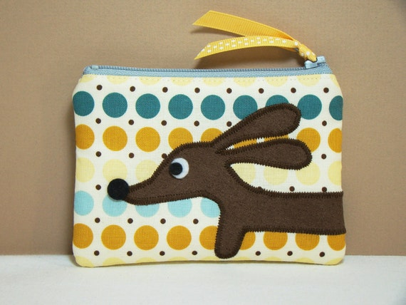 Dachshund Dog Coin Purse - Doxie Cool Polka Dot Delight