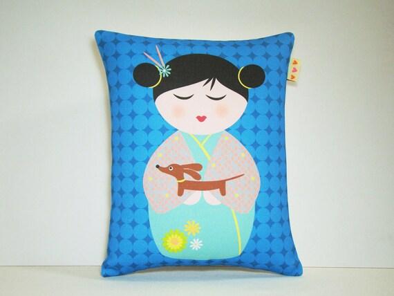 Kokeshi Doll and Dachshund Pillow - Modern Teal Dot