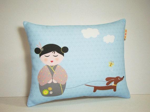 Kokeshi Doll and Dachshund Dog Pillow - Modern Blue