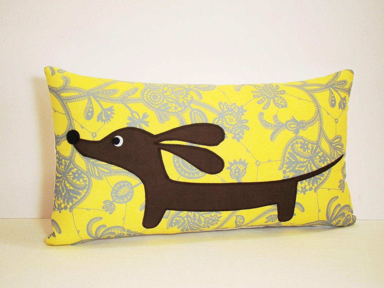 Dachshund Wiener Dog Pillow Doxie in the Modern Sunshine