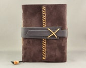 Rustic Dark Brown Suede Journal, Medium Size