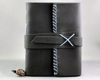 Handmade Leather Journal or Sketchbook in Black Leather