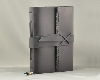 Handmade Leather Journal with LINED Parchment Paper Large Size