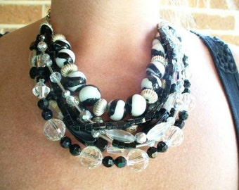 Black and White Handmade Statement Necklace Set
