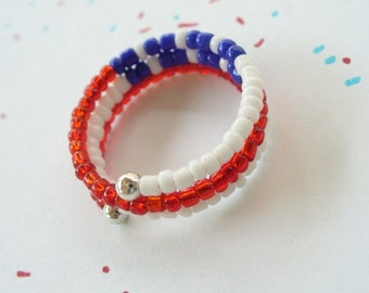 Red White and Blue Wrap Ring