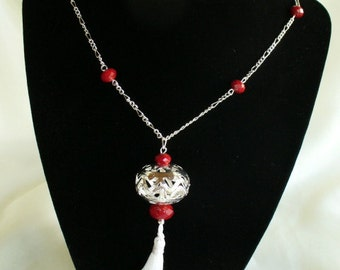 Blood Red Garnet and Sterling Chain Necklace Set