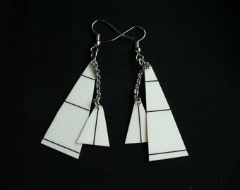 Recycled Card Earrings White Sails