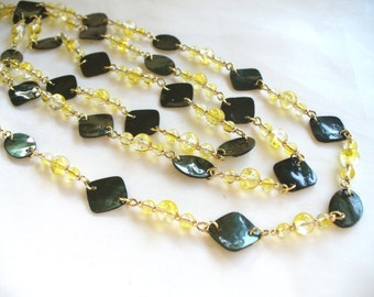 Lemon and Dark Green Shell Long Necklace