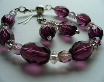 Amethyst  Handmade Bracelet and Earrings