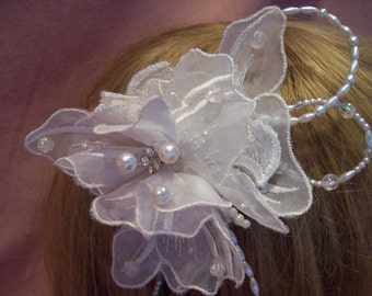 handmade off white bridal  pearl and embroidered lace butterfly fascinator