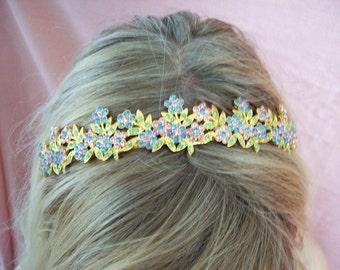 Fairytale Pastel multi color rhinestone tiara set in gold