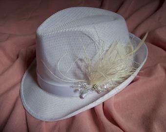 Fedora hat bridal with feathers and crystal cap unusual bride unique bride shower LBGT wedding