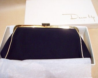 Sexy clutch Evening bag black lined with  gold by Avon