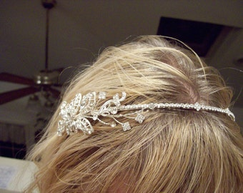 Sexy Bridal Headband in sterling with rhinestone carved leaves