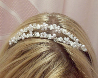 Grecian style pearl and  rhinestone duel layer sterling bridal headband greek roman