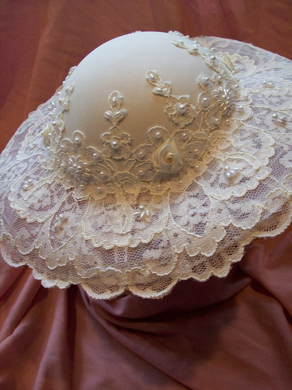 southern belle wide brim bridal hat diamond white beaded lace