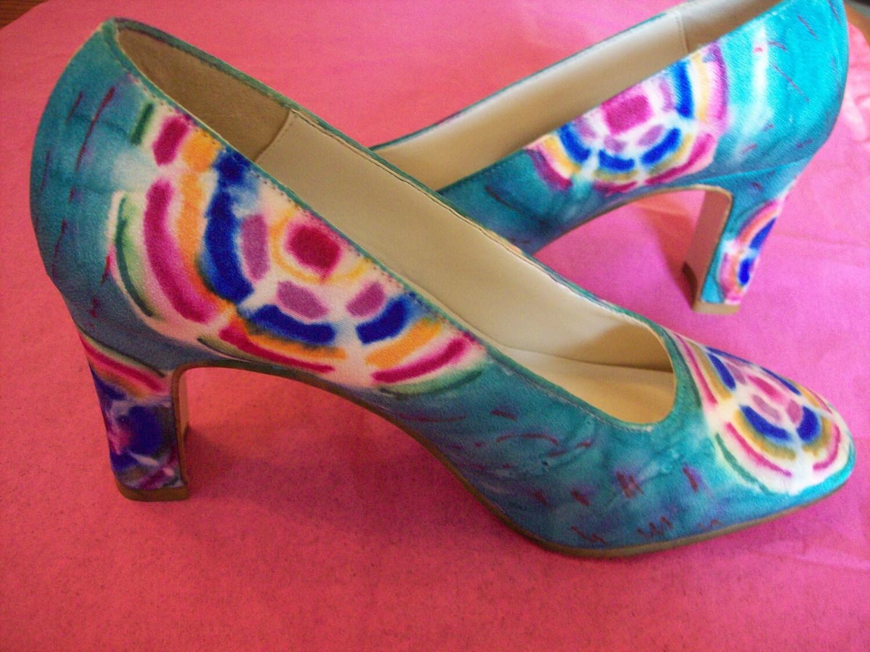 Wedding Tie Dye Something Blue Bridal Pump Shoe Bohemian