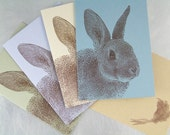 Recycled Rabbit Note Cards - Set of 4