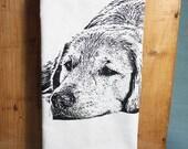 SPRING SALE!  Golden Retriever Tea Towel - Hand Printed Flour Sack Tea Towel