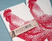 Rooster in Red - Hand Printed Flour Sack Tea Towel (Unbleached Cotton) - FuzzyMug