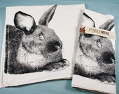 My Pet Rabbit Tea Towel in Black, Bunny Tea Towel - Hand Printed Flour Sack Tea Towel (Unbleached Cotton)