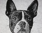Boston Terrier TShirt, Black on Gray - Unisex S