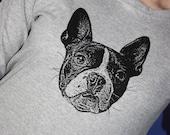 Boston Terrier Long Sleeve TShirt, Black on Heather Gray - Ladies XL