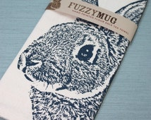 FALL SALE!  Fuzzy Bunny Tea Towel in Navy, Rabbit Tea Towel - Hand Printed Flour Sack Tea Towel (Unbleached Cotton)