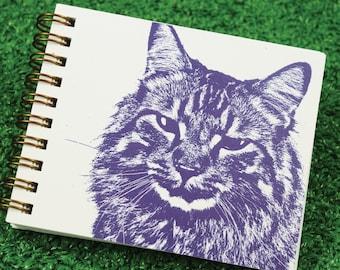 Mini Journal - Fluffy Kitty in Purple