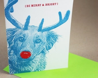 Shaggy Rudolph Merry and Bright Holiday Cards - 4 Pack