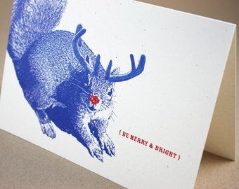 Super Squirrel Merry and Bright Holiday Card