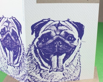 Animal Quote Note Card - Purple Pug