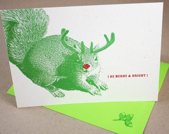 Super Squirrel Merry and Bright Holiday Cards - Set of 12