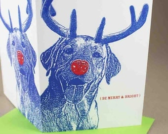 Smiling LAB Rudolph Merry and Bright Holiday Cards, Set of 4