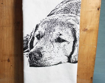 Golden Retriever Tea Towel - Hand Printed Flour Sack Tea Towel