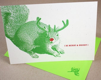 Super Squirrel Merry and Bright Holiday Cards, Set of 4