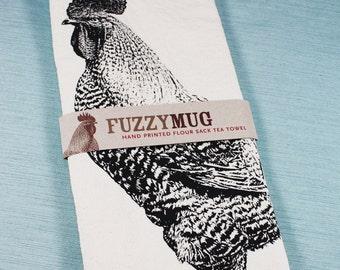 Rooster Tea Towel in Black - Hand Printed Flour Sack Tea Towel (Unbleached Cotton)