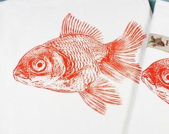Goldfish Tea Towel in Orange - Hand Printed Flour Sack Tea Towel