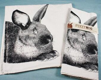 My Pet Rabbit Tea Towel in Black, Bunny Tea Towel - Hand Printed Flour Sack Tea Towel (Unbleached Cotton)