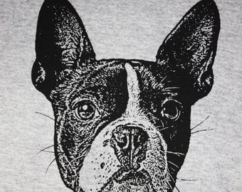 Boston Terrier TShirt, Black on Gray - Unisex XL