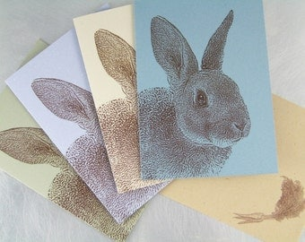 Recycled Rabbit Note Cards - Set of 8