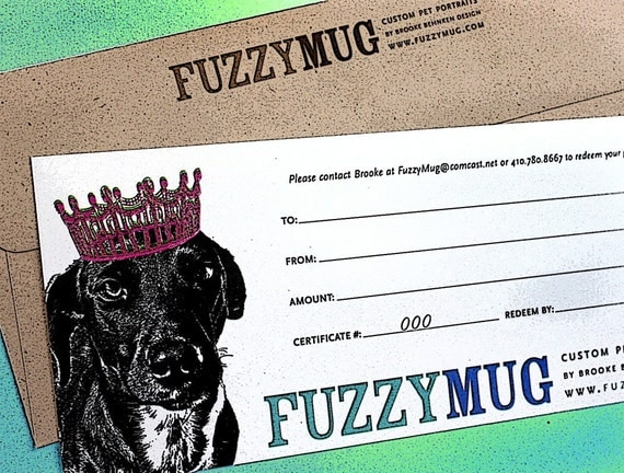 Gift Certificate for an 8x10 Custom Pet Portrait with Shipping