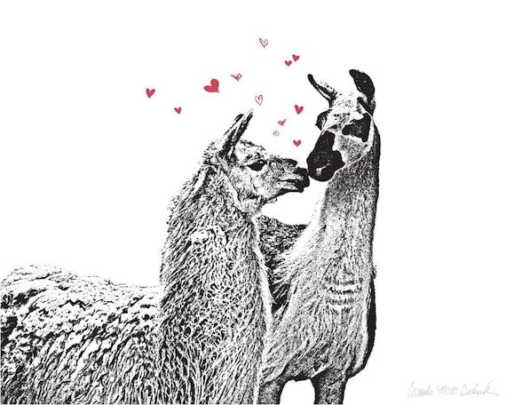 Llama Love - Limited Edition 8x10 Art Print