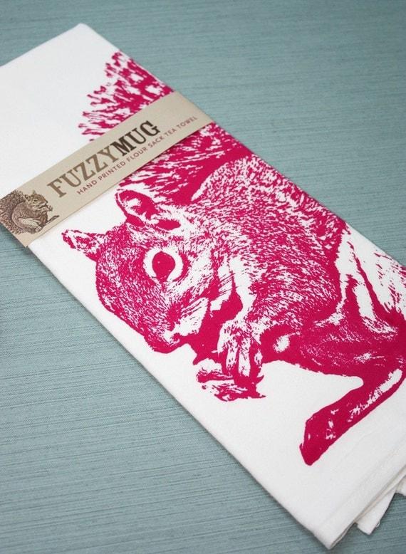 SPRING SALE!  Squirrel Tea Towel in Rubine Red - Hand Printed Flour Sack Tea Towel
