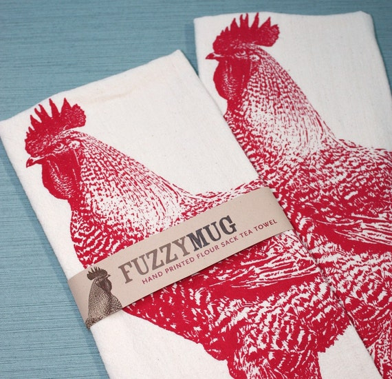 Rooster Tea Towel in Red - Hand Printed Flour Sack Tea Towel (Unbleached Cotton)