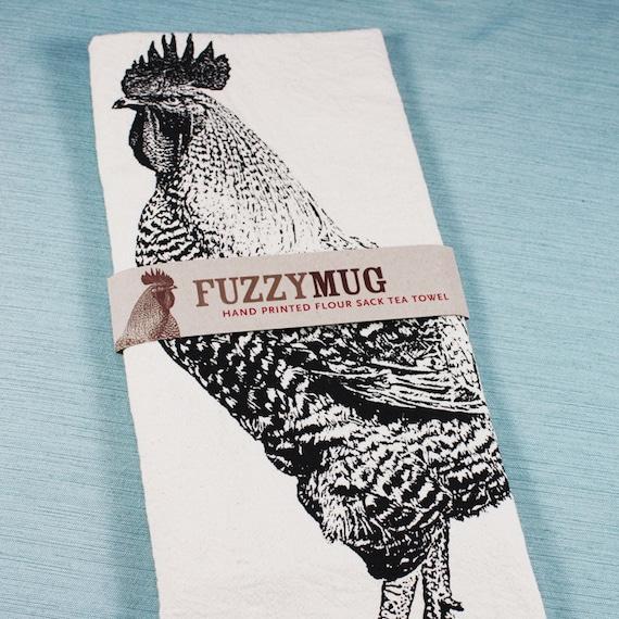 SPRING SALE!  Rooster Tea Towel in Black - Hand Printed Flour Sack Tea Towel (Unbleached Cotton)