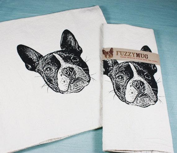 Boston Terrier Tea Towel in Black - Hand Printed Flour Sack Tea Towel (Unbleached Cotton)