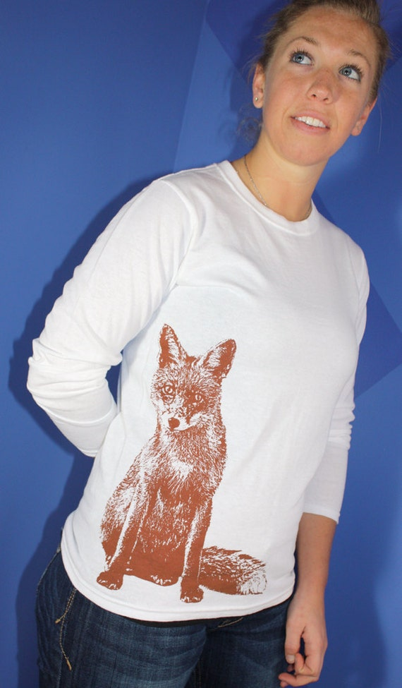 Curious Little Fox Long Sleeve TShirt, Rust on White - Ladies S